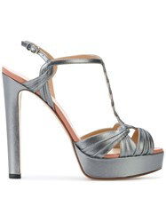 Francesco Russo Side Buckle Platform Sandals Grey