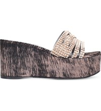 Gina Lettie Embellished Leather Wedge Sandals Bronze Com