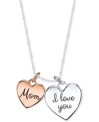 Unwritten Two Tone Mom Double Heart Pendant Necklace In Sterling Silver And Rose Gold Plated Sterling Silver
