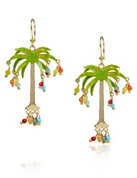 Rosantica Gold Hawaii Palm Tree Earrings Multi