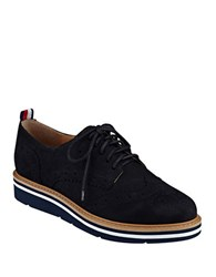 Tommy Hilfiger Kabrielle Wingtip Suede Oxfords Black