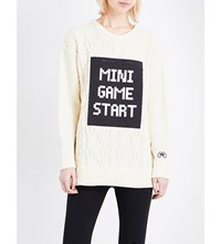 Mini Cream Game Start Cable Knit Jumper Cream Black