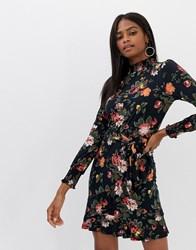 Oasis Floral Knit Skater Dress Multi Blue