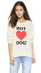Wildfox Couture Hot Dog Love Kim's Sweatshirt Vintage Lace