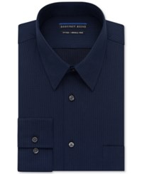 Geoffrey Beene Non Iron Fitted Textured Sateen Solid Dress Shirt New Navy