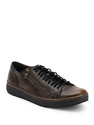 John Varvatos Barrett Creeper Pebbled Leather Sneakers Walnut