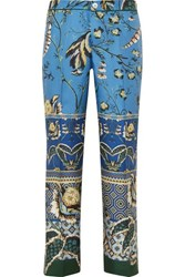 F.R.S For Restless Sleepers Ceo Printed Silk Satin Twill Straight Leg Pants Blue