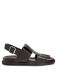 Marni Fringed Leather Sandals Black