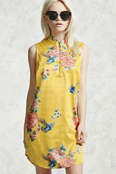 Forever 21 Satin Floral Dress Yellow Pink
