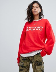 Prettylittlething Iconic Slogan Sweat In Red