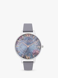 Olivia Burton Ob16us09 'S Under The Sea Leather Effect Strap Watch Silver Blue