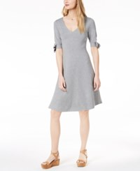 525 America Petite Bow Sleeve Fit And Flare Dress Heather Grey