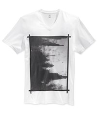 Inc International Concepts Men's Painting Graphic Print V Neck T Shirt Only At Macy's White Pure