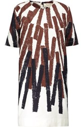 Marni Printed Cotton And Linen Blend Dress Brown