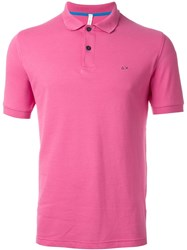 Sun 68 Classic '68 Solid' Polo Shirt Pink And Purple
