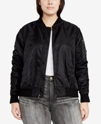 Rachel Roy Trendy Plus Size Bomber Jacket Black