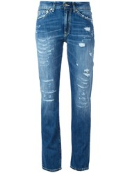 Dondup Ripped Trim Jeans Blue