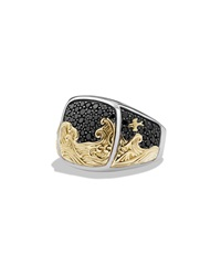 Waves Signet Ring With Pave Diamonds David Yurman