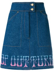 Olympia Le Tan Griffen Skirt Women Cotton 34 Blue