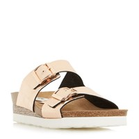 Dune Lucki Double Buckle Footbed Sandals Rose Gold