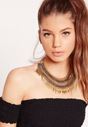 Missguided Layered Chain Statement Necklace Grey