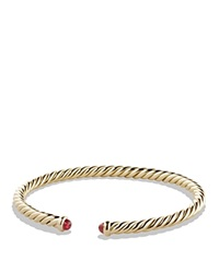 David Yurman Precious Cable Pave Cablespira Bracelet With Rubies In Gold Gold Red