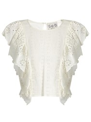 Sea Ruffled Front Broderie Anglaise Cotton Top White