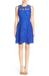 Women's Adelyn Rae Sleeveless Lace Fit And Flare Dress Cobalt
