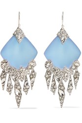 Alexis Bittar Silver Tone Crystal And Acrylic Earrings Metallic