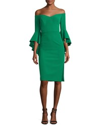 Milly Italian Cady Selena Off The Shoulder Flutter Sleeve Cocktail Dress Emerald