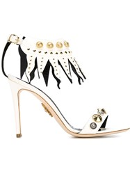 Fausto Puglisi Studded Sandals With Fringe Detail Nude And Neutrals