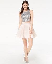B. Darlin B Juniors' Sequined And Taffeta 2 Pc. Dress Blush