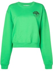 Off White Arrow Embroidered Logo Sweater Green