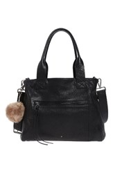 Topshop Women's Faux Fur Pompom And Crystal Key Ring Grey