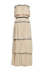 Sonia Rykiel Embroidered Satin Tiered Bustier Dress Off White