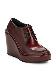 Jil Sander Leather Wedge Ankle Boots Dark Red