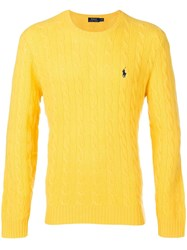 Polo Ralph Lauren Cable Knit Jumper Yellow And Orange