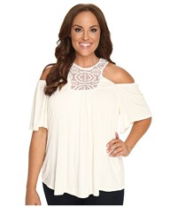Kiyonna Cali Crochet Top Ivory Women's Clothing White
