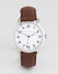 French Connection Watch Brown Strap White Dial Brown