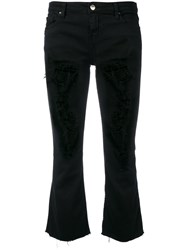 Iro Ripped Cropped Kick Flare Jeans Women Cotton Spandex Elastane 30 Black