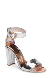 Ted Baker Women's London Secoa Ankle Strap Sandal Silver Leather
