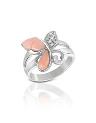 Del Gatto Diamond And Pink Coral Butterfly 18K Gold Ring