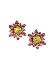 Heidi Daus Marquise Crystal And Rhinestone Flower Stud Earrings Fuchsia