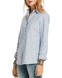 Scotch And Soda Embroidered Lips Button Down Shirt Combo A