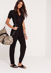 Missguided Jersey Short Sleeve Plunge Jumpsuit Black Black