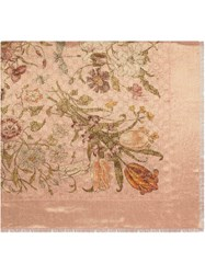 Gucci Gg Wool And Lurex Shawl With Flora Print Pink