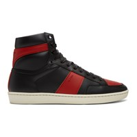 Saint Laurent Black And Red Court Classic Sl 10 High Top Sneakers