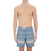 Faherty Men's Striped And Folkloric Print Swim Trunks Blue