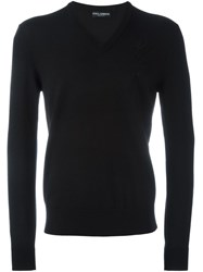 Dolce And Gabbana Embroidered Rose Patch Jumper Black
