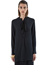 Valentino Long Pussy Bow Blouse Black